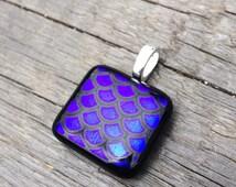 Mermaid scales glass pendant in electric blue purple