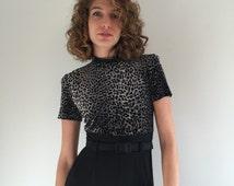 Vintage 80's Leopard Print Jumpsuit / High Waist Skinny Jumper S