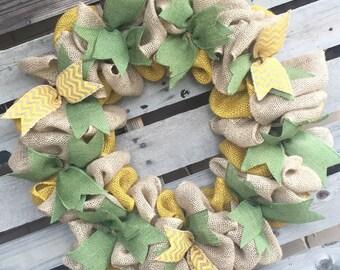 Burlap Wreath, Front Door Wreath, Door Hanger, Yellow and Green Wreath, Housewarming Gift, Rustic Decor, Fall Wreath, Neutral Wreath
