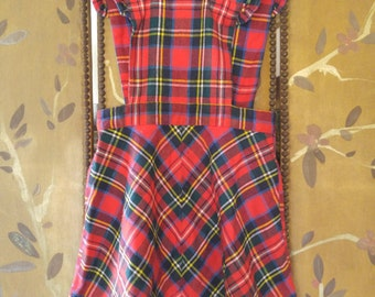 70s girls red tartan / plaid pinafore by Lipmans made in England