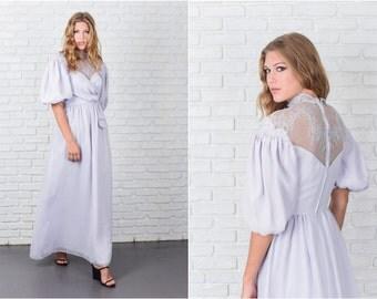 Vintage 70s Purple Boho Hippie Dress Maxi Floral Lace Puff Sleeve XS 7789 vintage dress 70s dress purple dress hippie dress floral dress