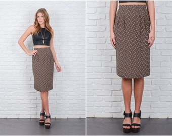Vintage 80s Taupe + Black REtro Skirt Abstract Print High Waist Small S 6301 vintage skirt 80s skirt taupe skirt black skirt retro skirt