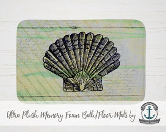 "Plush Bath Mat 34x21"" - Seashell | French Script Nautical Beach House Decor | Plush Memory Foam + Mold Resistant | 34x21"""