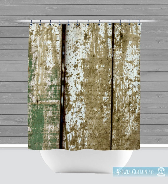 Barnwood Shower Curtain Olive Green Rustic Americana