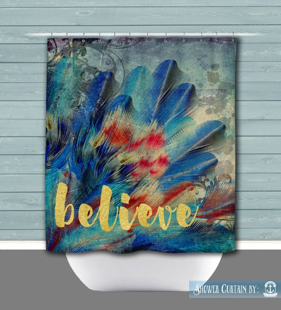 Believe Shower Curtain Gold Teal And Blue Feathers