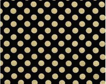 Spot On Metallic Gold Dots on Jet Black From Robert Kaufman