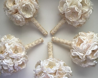 Cream and Gold - Medium Sized Bouquet - Bridesmaids Bouquets, Fabric Flower Bouquets, Bridal Bouquet, Gold Flowers, Gold Bouquets, Gold