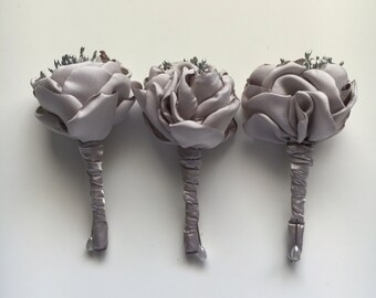 Solid Silver Boutonnières - Fabric Wedding Flowers, Fabric Flowers, Fabric Bouquets, Fabric Buttonholes, Groom, Bestman, Groomsmen, Father