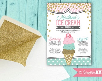 Ice Cream Cone Birthday Party Invitation - Light Pink, Mint blue, & gold glitter - personalized with OR without photo - Printable or Printed