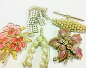 Vintage Brooches, Antique Vintage Brooch, Pins, Lot of 6, Faux Pearls, Vintage Costume Jewelry
