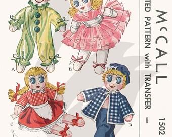 Reproduction Vintage Sock Dolls Clown Dancer Girl Sailor Sewing Pattern M1502 - PDF