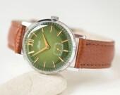 Green Men's Wrist Watch ZIM, minimalist men watch, male watch 70s, mechanical gent's watch, summer fashion watch, premium leather strap new