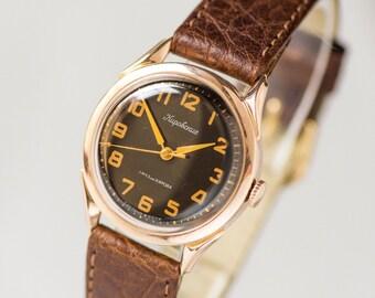 Golden men's watch Kirovskie rare, mid century gents wrist watch, black face 14k solid gold 583 timepiece Soviet, premium leather strap new