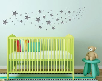 Silver Star Wall Decals // Nursery Wall Decals // Design Pack of 109 Stars //Teen Girl Wall Decor