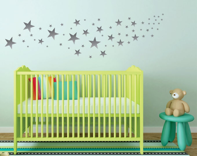 Silver Star Wall Decals -Nursery Wall Decals - Design Pack of 109 Stars