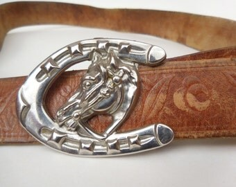 Vintage Distressed Tooled Leather Belt Metal Western Horseshoe Buckle