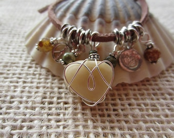 Beach Boho Bracelet, Tiny Sterling Peacel and Lotus Charm, 4 Sage Green and Amber Gemstones, Beach Heart