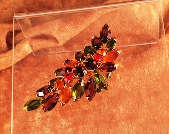 Verified D&E Juliana Dimensional Rhinestone Pin Brooch in Orange, Brown Green and Yellow