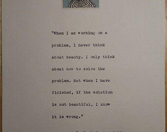 R. Buckminster Fuller quote on art with vintage science stamp on deckle edge paper