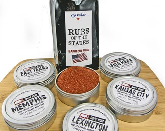 DELUXE! Gusto Spice's =Rubs Of The States= Barbecue Spice Gift Set for the BBQ Master