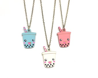 Cute Boba Necklace - Handmade - laser cut - laser cut jewelry