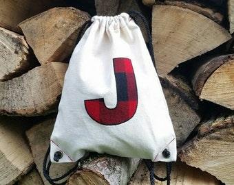 Personalized Drawstring Lumberjack Backpack With Monogram - Toddler Backpack - Buffalo Plaid - Christmas Gift