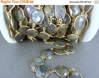 35% off Wholesale Labradorite Gold Layered Bezel Station Connector Chain (CHN-168)