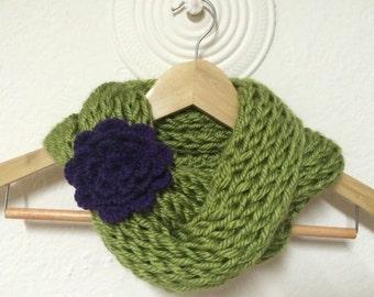 Knit Infinity Twist Cowl Scarf With Flower, Cowl Scarf