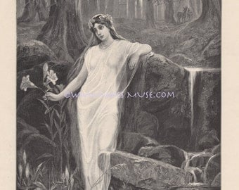 Forest Nymph Of Water-Lily-Flowers-Spring-1890 Antique Vintage Art Print-Gothic Picture-Stream-Victorian Era-River-Lovely German Engraving