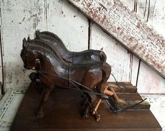 Handmade wooden horses vintage hand carved set of horses