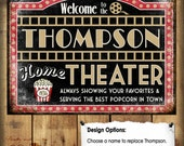 """Custom Home Theater Sign // Metal Sign // 12""""x16"""""""