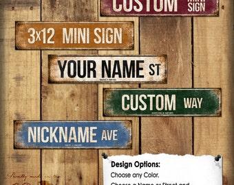 "Custom Mini Sign // 1 Metal Street Sign // 3"" x 12"" // Personalized Gift"