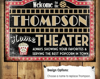 "Custom Home Theater Sign // Metal Sign // 12""x16"""