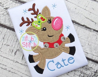 Girl's Flying Reindeer - Christmas Shirt - Girl's Holiday Shirt Design