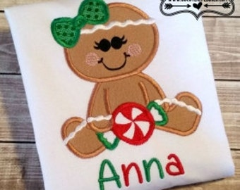Gingerbread Girl with Peppermint -  Christmas Shirt - Girl's or Boy's Holiday Shirt Design - Christmas Applique Shirt