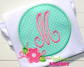 Girl's Circle Applique Shirt - Summer Applique Design - Girl's shirt - Monogram Summertime Shirt
