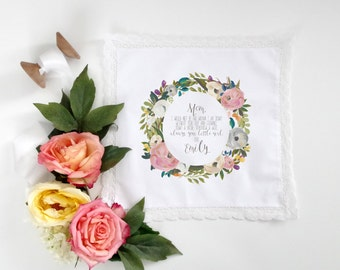 Wedding Handkerchief for MOTHER of the bride printed handkerchief with your choice of floral graphic