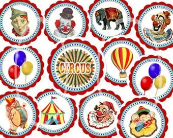 Vintage Circus, Carnival Printable Circles, digital collage, Circus Birthday Party Printable, colorful Clown Cupcake toppers, DIY Party