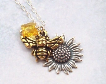 Gold Bee Necklace, Sunflower Necklace, yellow butterfly, honeybee necklace, sterling silver, garden, spring fashion