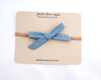 Linen School Girl Bow Hand Tied Bow -French Blue-
