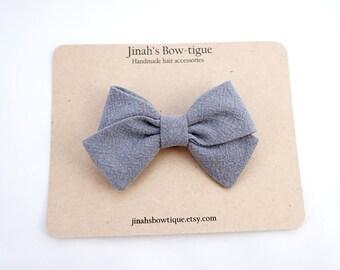 Linen Hand Folded Bow Headband Nylon Skinny Headband -Textured Charcoal-