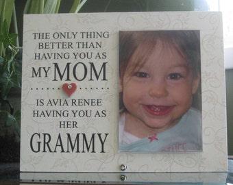 Grammy Gift, Grammy Picture Frame, Grammy Frame, Grammy Photo Frame, Personalized Frame for Grammy, 4 x 6 photo, Ceramic Heart with crystal