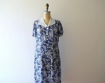 1930s 1940s dress . vintage blue and white floral dress