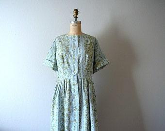 1950s toile print dress . vintage 50s 60s dress