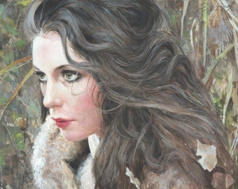 "small egg tempera painting on panel of beautiful woman in autumn, ""autumn,"" Andrew Wyeth style tempera painting, delicate painting, fall"