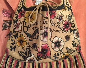 Hand Painted Floral and Butterfly Suede Bag