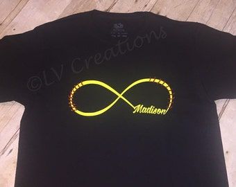 Personalized Softball Baseball Infinity tee with Name and Stitches