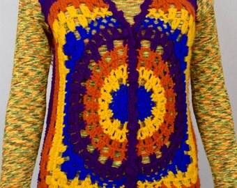 Sale - Vintage 1970's Women's Zado Rainbow Striped HiPPiE BoHo Crocheted Woodstock Mandala Sweater Vest Size M L