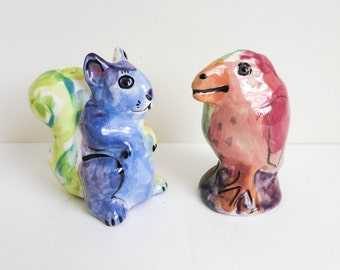 Bird and Squirrel Salt and Pepper Shakers - Folk Art Sculptures - Animal Salt and Pepper - Kitchen or Nursery Decor - birthday Cake Toppers