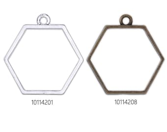 20 Hexagon Resin Bezel Open Back Blank,30.6x28.8x2.8mm Pressed Flower Frame Pendant
